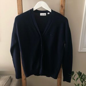 Lacoste Women's Navy Blue Cardigan Sweater Size 38